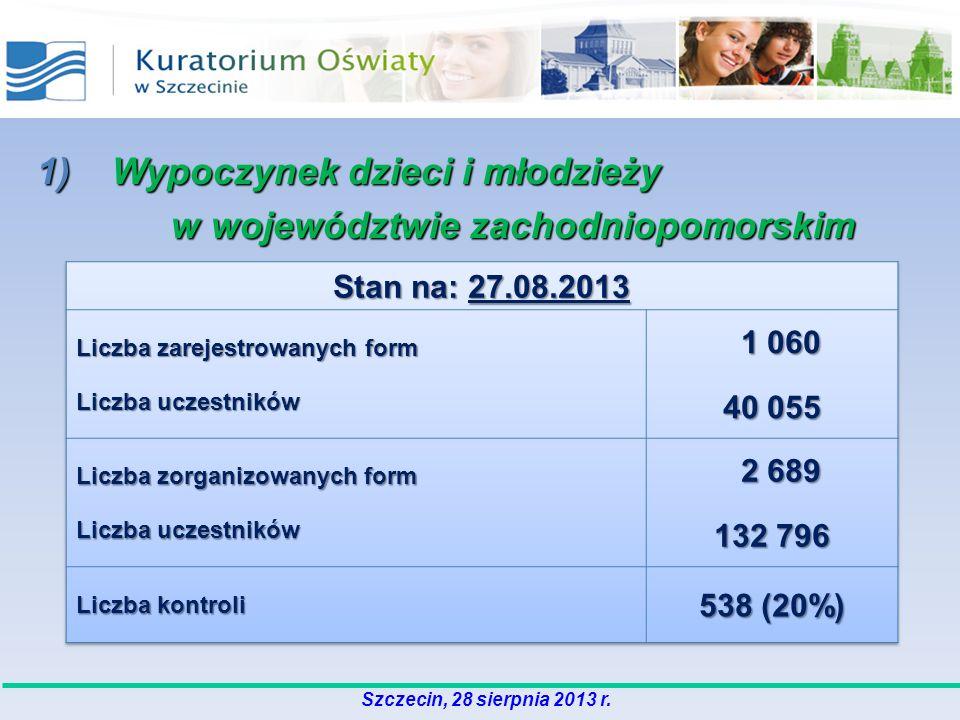 1) Wypoczynek dzieci i młodzieży w województwie zachodniopomorskim w województwie zachodniopomorskim Szczecin, 28 sierpnia 2013 r.