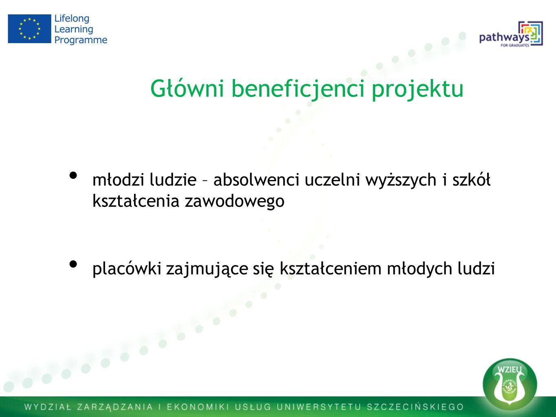 Główni beneficjenci projektu młodzi ludzie – absolwenci uczelni wyższych i szkół kształcenia zawodowego placówki zajmujące się kształceniem młodych lu