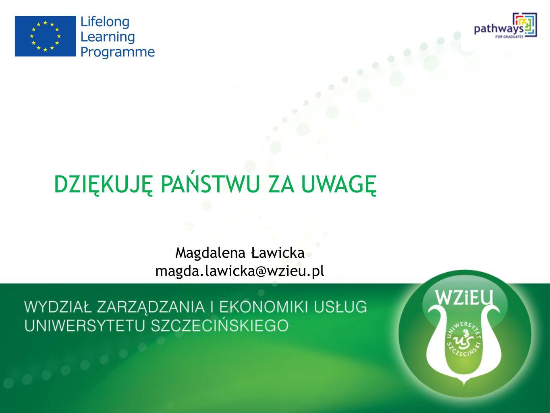 DZIĘKUJĘ PAŃSTWU ZA UWAGĘ Magdalena Ławicka magda.lawicka@wzieu.pl