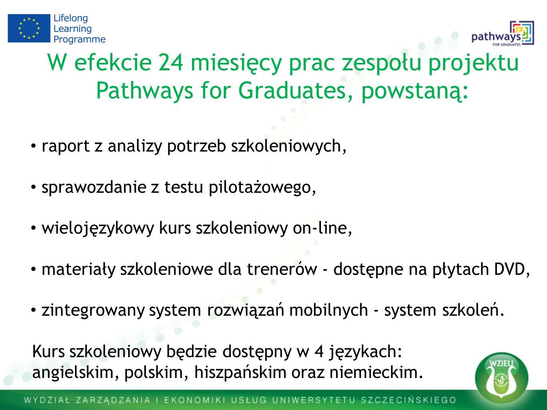 W efekcie 24 miesięcy prac zespołu projektu Pathways for Graduates, powstaną: raport z analizy potrzeb szkoleniowych, sprawozdanie z testu pilotażowego, wielojęzykowy kurs szkoleniowy on-line, materiały szkoleniowe dla trenerów - dostępne na płytach DVD, zintegrowany system rozwiązań mobilnych - system szkoleń.