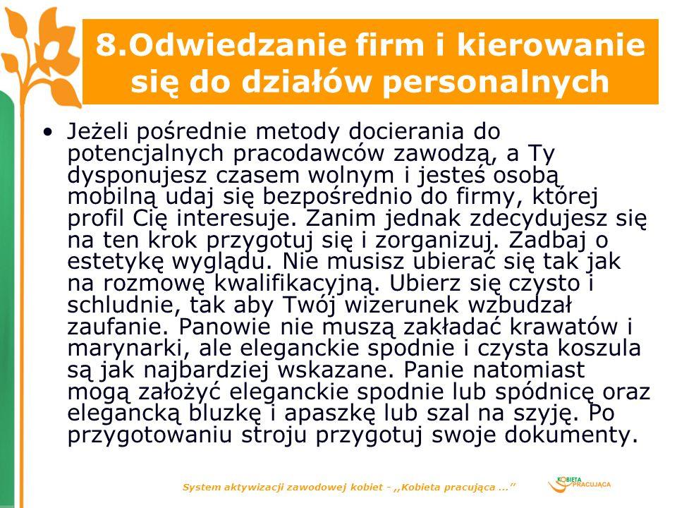 System aktywizacji zawodowej kobiet -,,Kobieta pracująca...