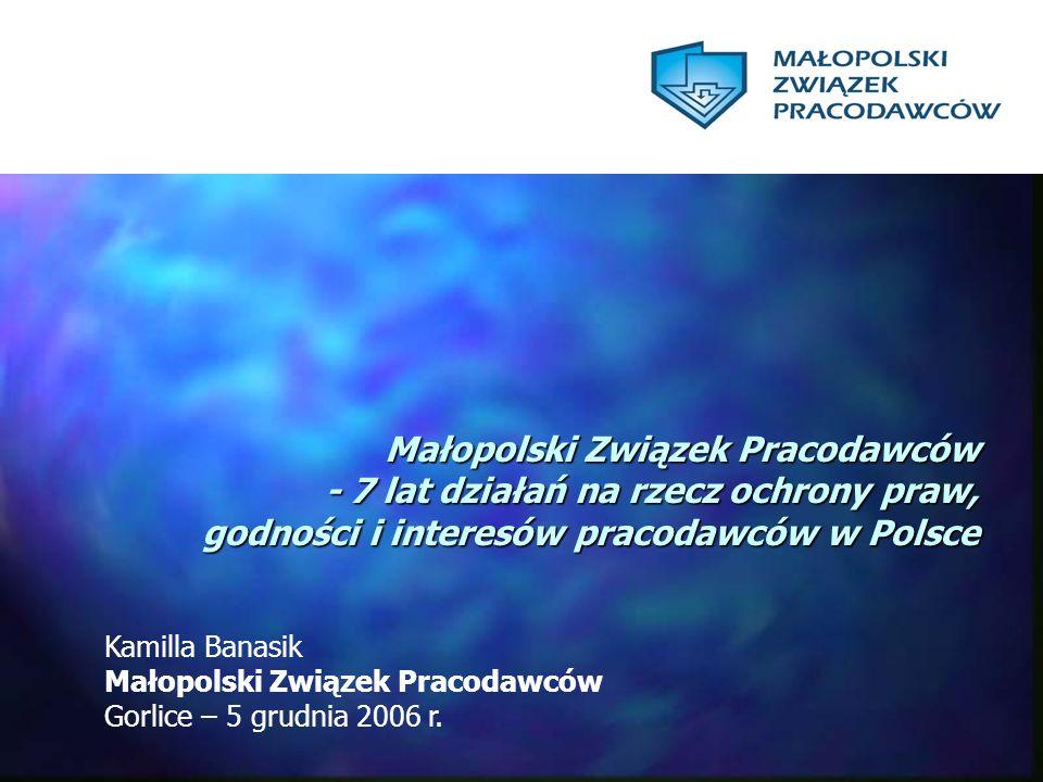 Małopolski Związek Pracodawców - 7 lat działań na rzecz ochrony praw, godności i interesów pracodawców w Polsce Kamilla Banasik Małopolski Związek Pra