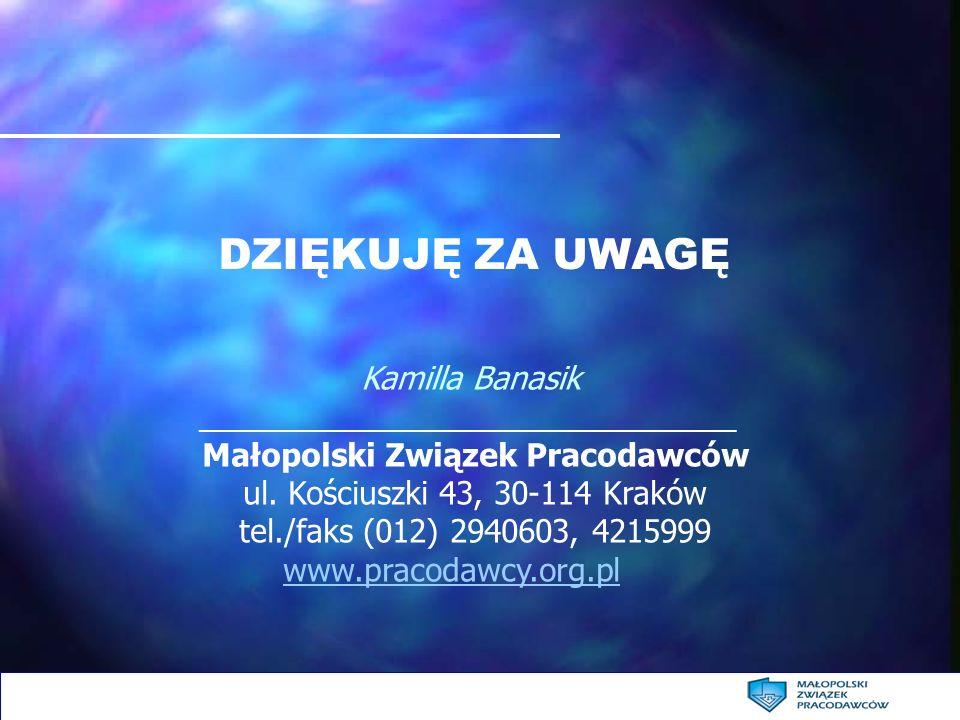 DZIĘKUJĘ ZA UWAGĘ Kamilla Banasik _______________________________ Małopolski Związek Pracodawców ul. Kościuszki 43, 30-114 Kraków tel./faks (012) 2940