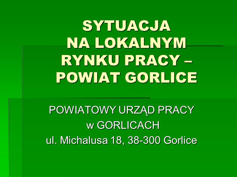SYTUACJA NA LOKALNYM RYNKU PRACY – POWIAT GORLICE POWIATOWY URZĄD PRACY w GORLICACH w GORLICACH ul. Michalusa 18, 38-300 Gorlice