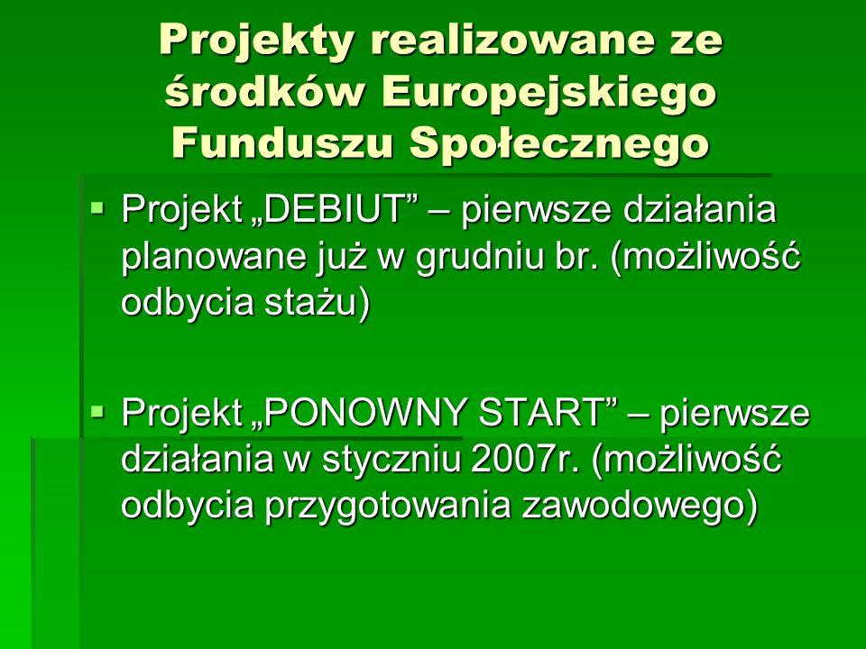 Projekty realizowane ze środków Europejskiego Funduszu Społecznego Projekt DEBIUT – pierwsze działania planowane już w grudniu br. (możliwość odbycia