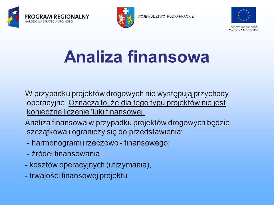 Analiza finansowa W przypadku projektów drogowych nie występują przychody operacyjne. Oznacza to, że dla tego typu projektów nie jest konieczne liczen