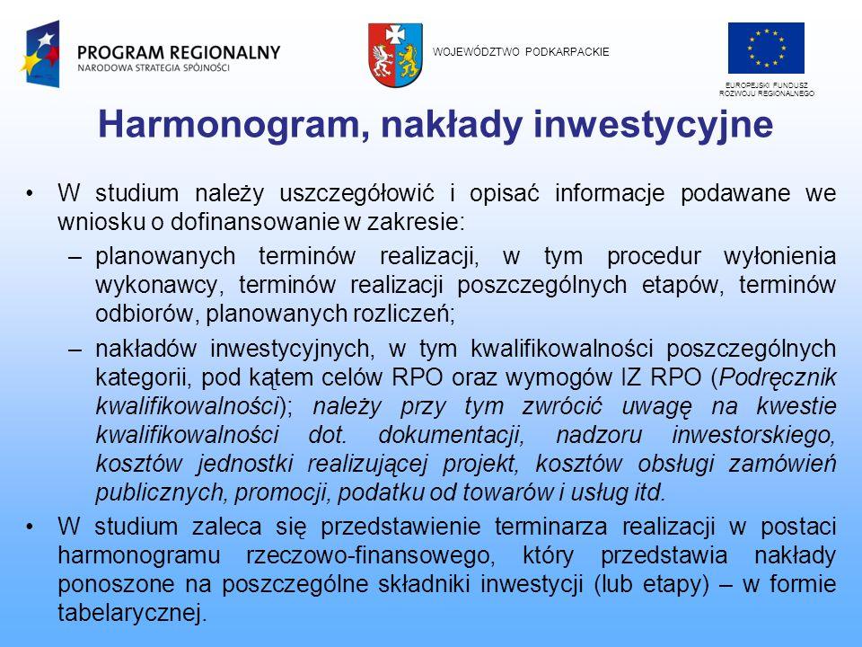 Harmonogram, nakłady inwestycyjne W studium należy uszczegółowić i opisać informacje podawane we wniosku o dofinansowanie w zakresie: –planowanych ter