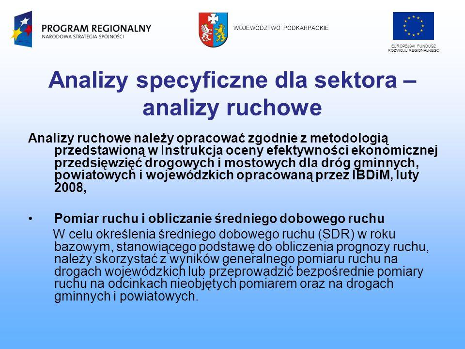 Analizy specyficzne dla sektora – analizy ruchowe Analizy ruchowe należy opracować zgodnie z metodologią przedstawioną w Instrukcja oceny efektywności