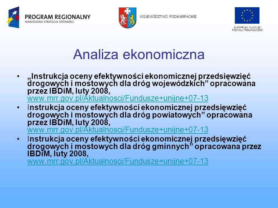 Analiza ekonomiczna Instrukcja oceny efektywności ekonomicznej przedsięwzięć drogowych i mostowych dla dróg wojewódzkich opracowana przez IBDiM, luty