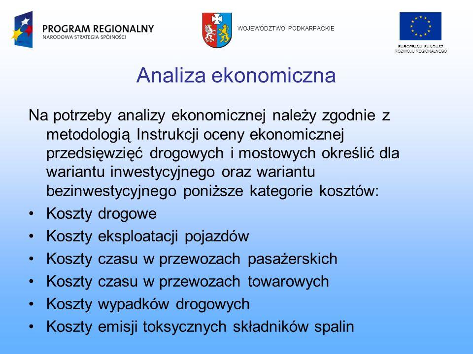 Analiza ekonomiczna Na potrzeby analizy ekonomicznej należy zgodnie z metodologią Instrukcji oceny ekonomicznej przedsięwzięć drogowych i mostowych ok
