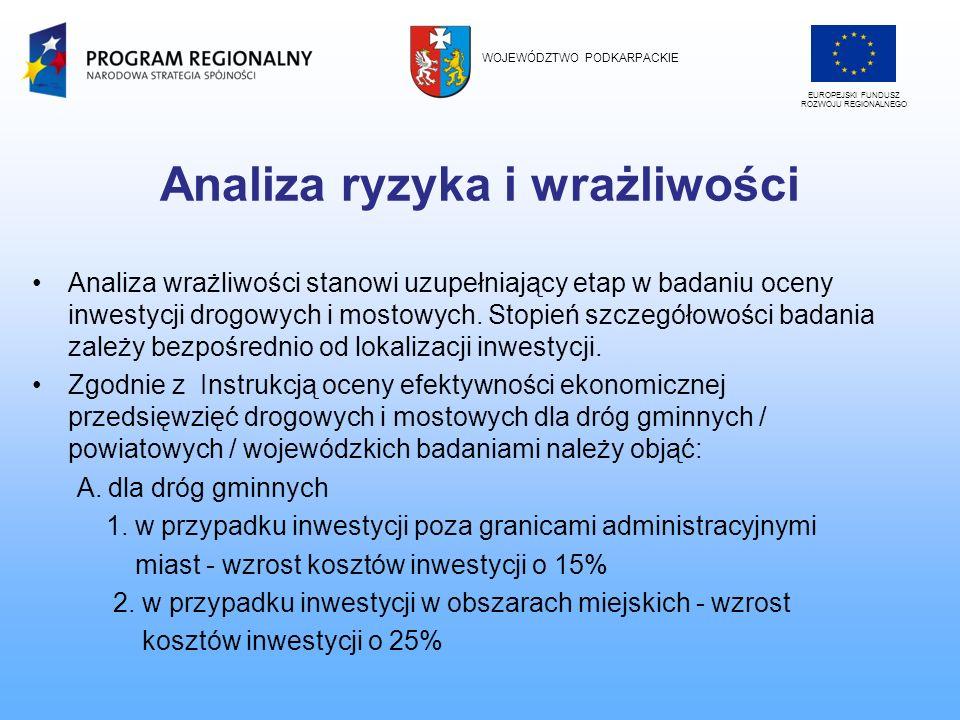 Analiza ryzyka i wrażliwości Analiza wrażliwości stanowi uzupełniający etap w badaniu oceny inwestycji drogowych i mostowych. Stopień szczegółowości b