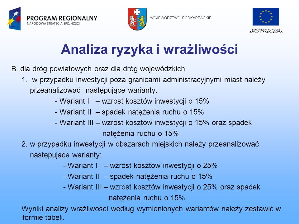 Analiza ryzyka i wrażliwości B. dla dróg powiatowych oraz dla dróg wojewódzkich 1. w przypadku inwestycji poza granicami administracyjnymi miast należ