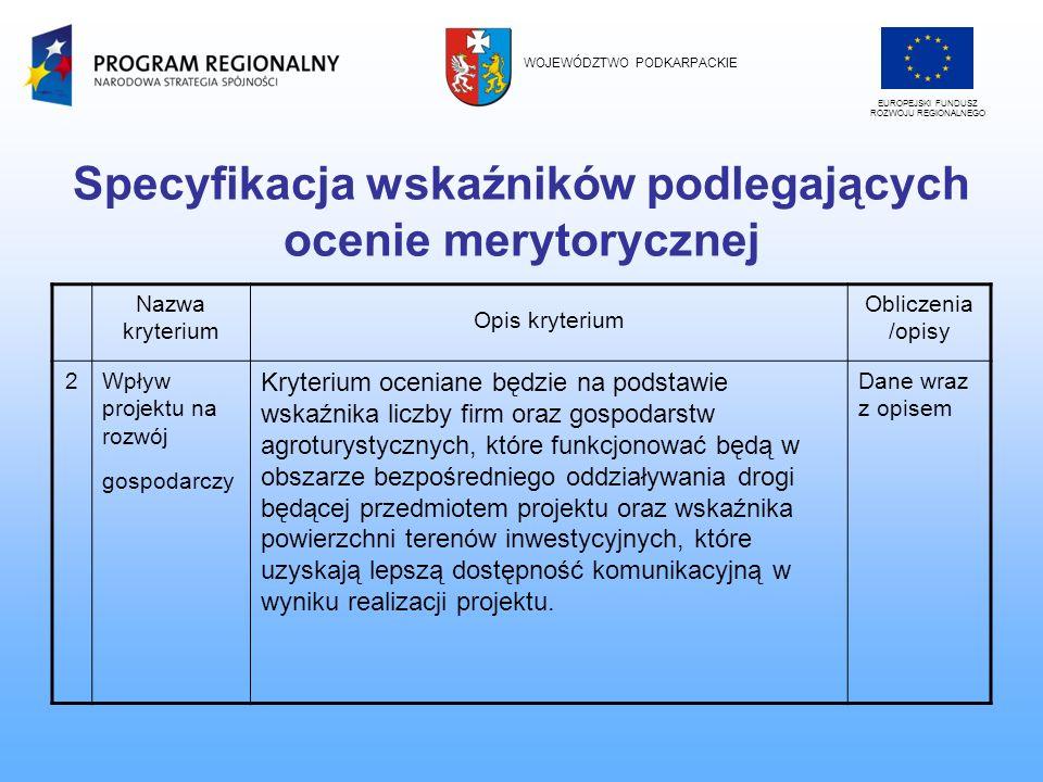 Specyfikacja wskaźników podlegających ocenie merytorycznej Nazwa kryterium Opis kryterium Obliczenia /opisy 2Wpływ projektu na rozwój gospodarczy Kryt