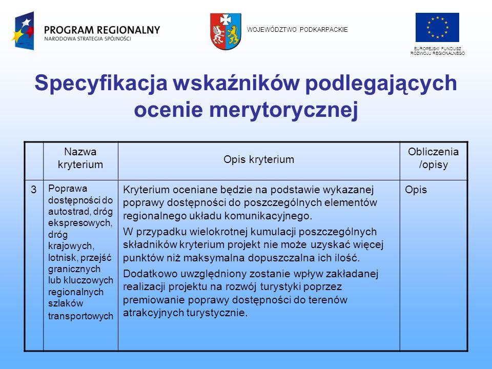 Specyfikacja wskaźników podlegających ocenie merytorycznej EUROPEJSKI FUNDUSZ ROZWOJU REGIONALNEGO WOJEWÓDZTWO PODKARPACKIE Nazwa kryterium Opis kryte
