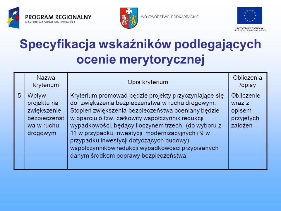 Specyfikacja wskaźników podlegających ocenie merytorycznej Nazwa kryterium Opis kryterium Obliczenia /opisy 5Wpływ projektu na zwiększenie bezpieczeńs