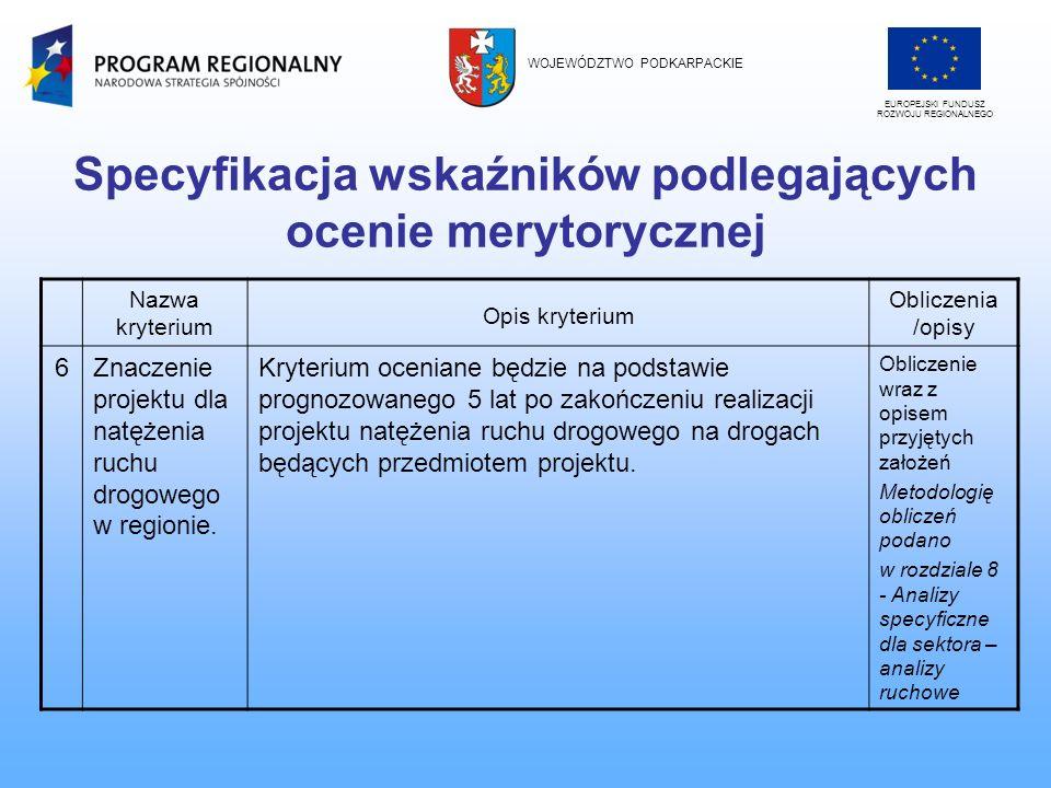 Specyfikacja wskaźników podlegających ocenie merytorycznej Nazwa kryterium Opis kryterium Obliczenia /opisy 6Znaczenie projektu dla natężenia ruchu dr