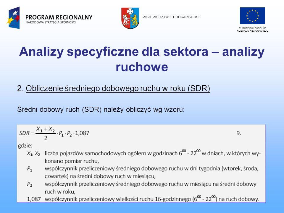 Analizy specyficzne dla sektora – analizy ruchowe 2. Obliczenie średniego dobowego ruchu w roku (SDR) Średni dobowy ruch (SDR) należy obliczyć wg wzor