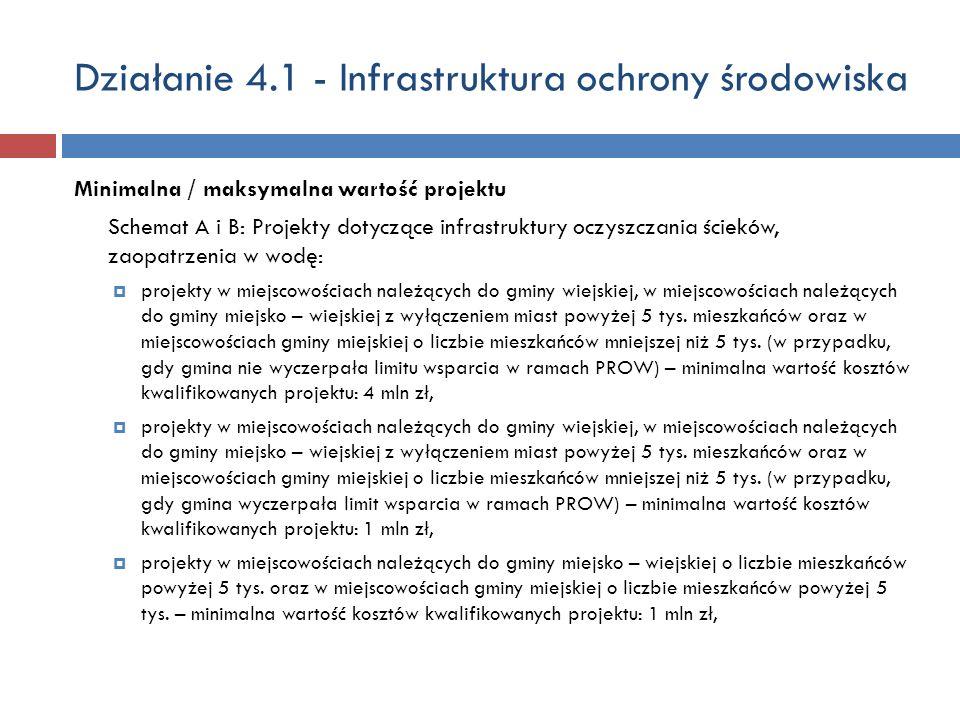 Działanie 4.1 - Infrastruktura ochrony środowiska Minimalna / maksymalna wartość projektu Schemat A i B: Projekty dotyczące infrastruktury oczyszczani