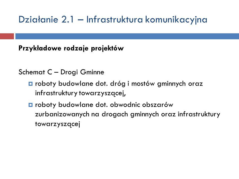 Działanie 2.1 – Infrastruktura komunikacyjna Przykładowe rodzaje projektów Schemat C – Drogi Gminne roboty budowlane dot. dróg i mostów gminnych oraz