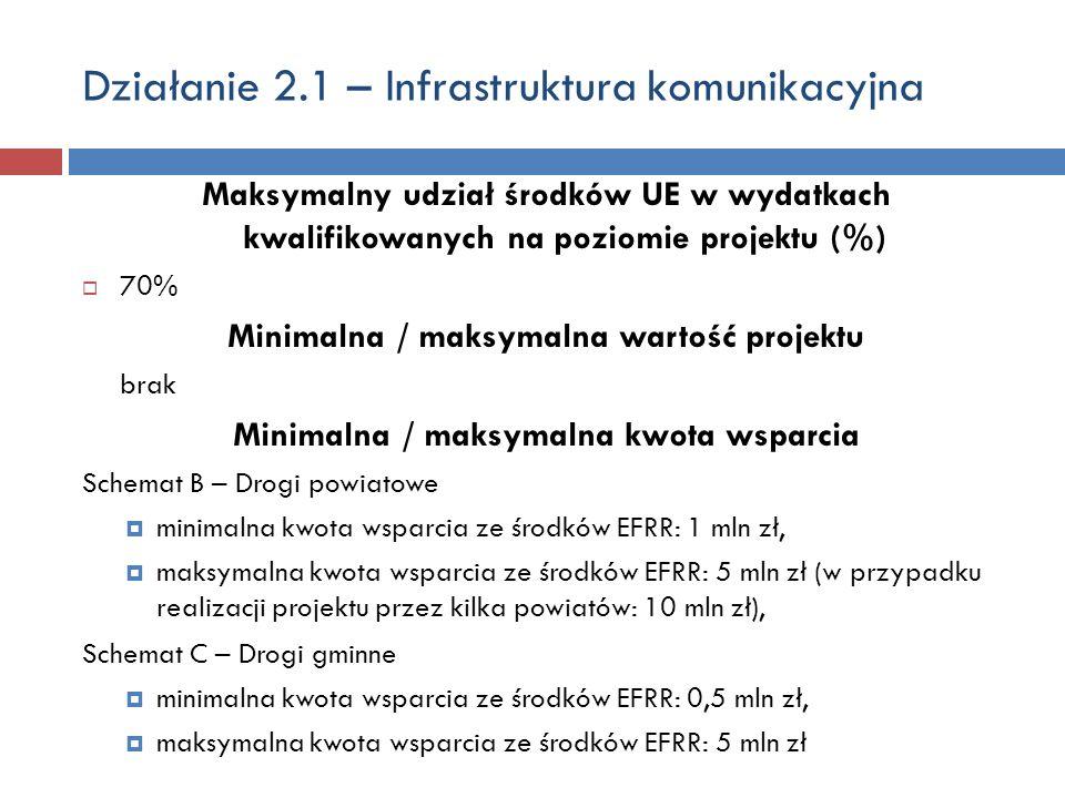 Działanie 2.1 – Infrastruktura komunikacyjna Maksymalny udział środków UE w wydatkach kwalifikowanych na poziomie projektu (%) 70% Minimalna / maksyma