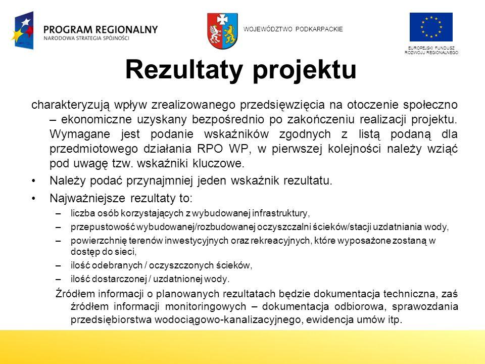 Rezultaty projektu charakteryzują wpływ zrealizowanego przedsięwzięcia na otoczenie społeczno – ekonomiczne uzyskany bezpośrednio po zakończeniu realizacji projektu.