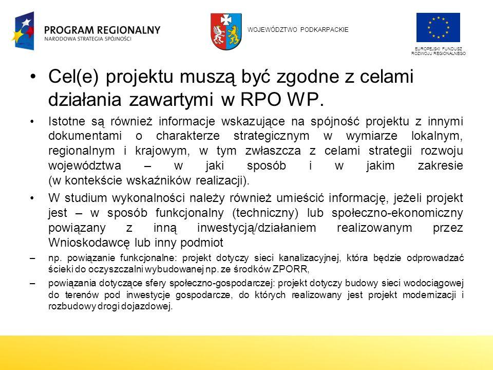 Cel(e) projektu muszą być zgodne z celami działania zawartymi w RPO WP.