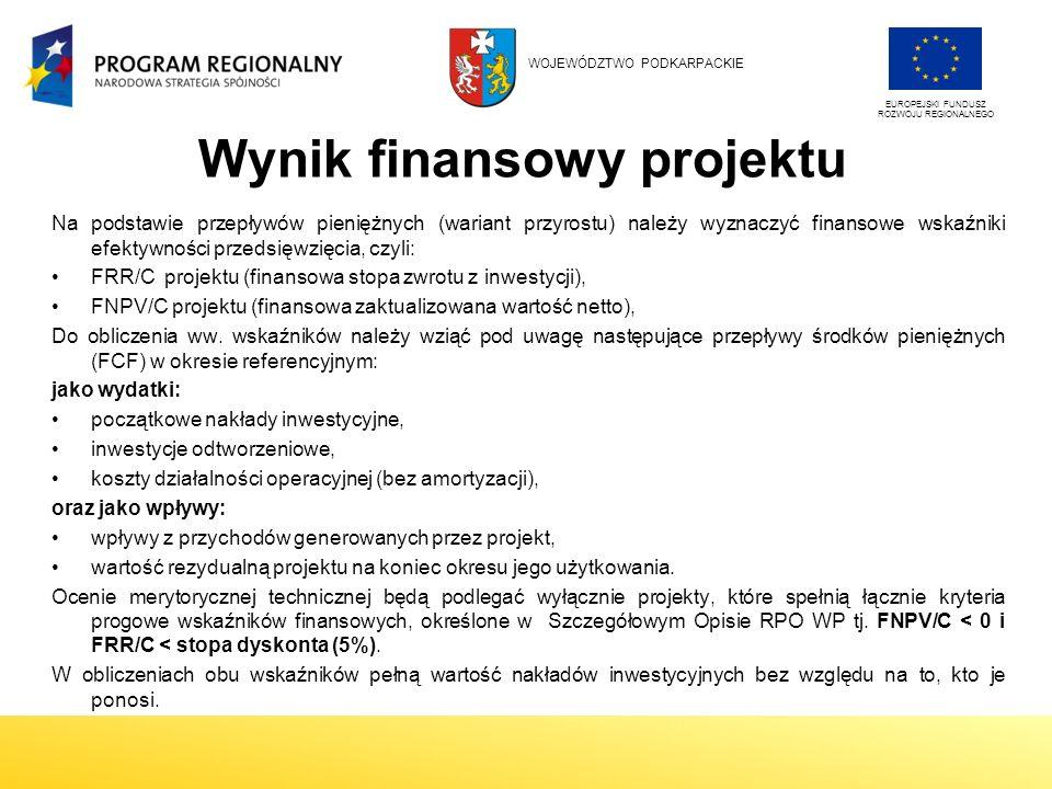 Wynik finansowy projektu Na podstawie przepływów pieniężnych (wariant przyrostu) należy wyznaczyć finansowe wskaźniki efektywności przedsięwzięcia, czyli: FRR/C projektu (finansowa stopa zwrotu z inwestycji), FNPV/C projektu (finansowa zaktualizowana wartość netto), Do obliczenia ww.