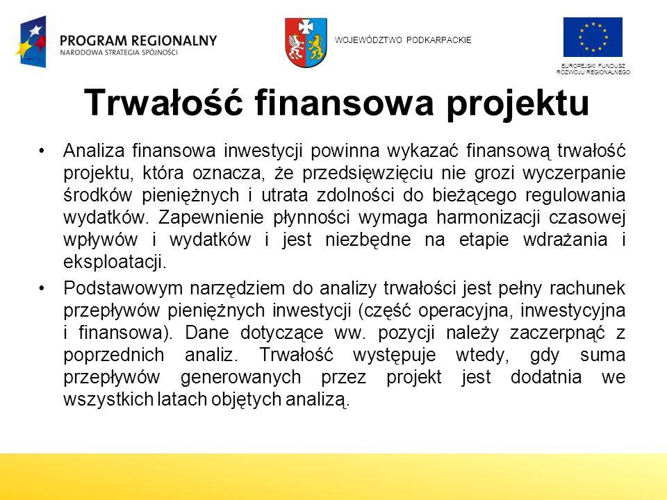 Trwałość finansowa projektu Analiza finansowa inwestycji powinna wykazać finansową trwałość projektu, która oznacza, że przedsięwzięciu nie grozi wyczerpanie środków pieniężnych i utrata zdolności do bieżącego regulowania wydatków.