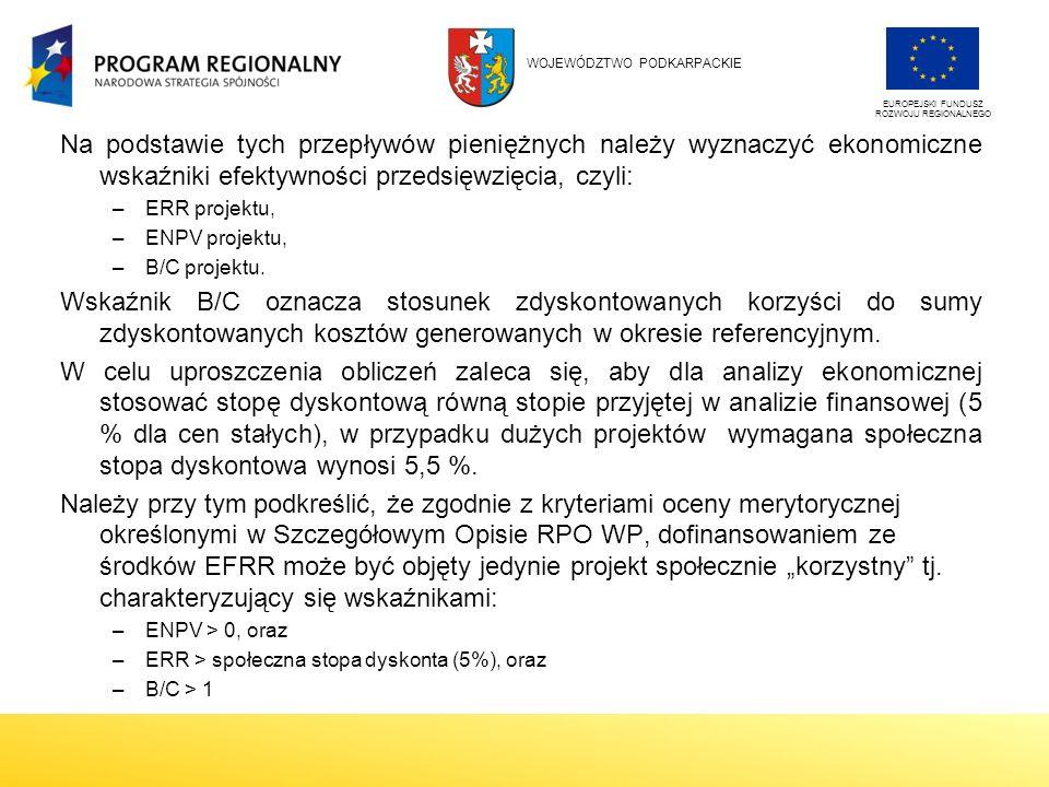 Na podstawie tych przepływów pieniężnych należy wyznaczyć ekonomiczne wskaźniki efektywności przedsięwzięcia, czyli: –ERR projektu, –ENPV projektu, –B/C projektu.