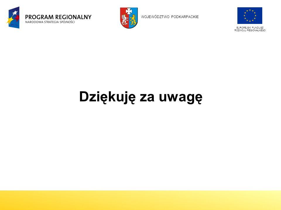 Dziękuję za uwagę EUROPEJSKI FUNDUSZ ROZWOJU REGIONALNEGO WOJEWÓDZTWO PODKARPACKIE