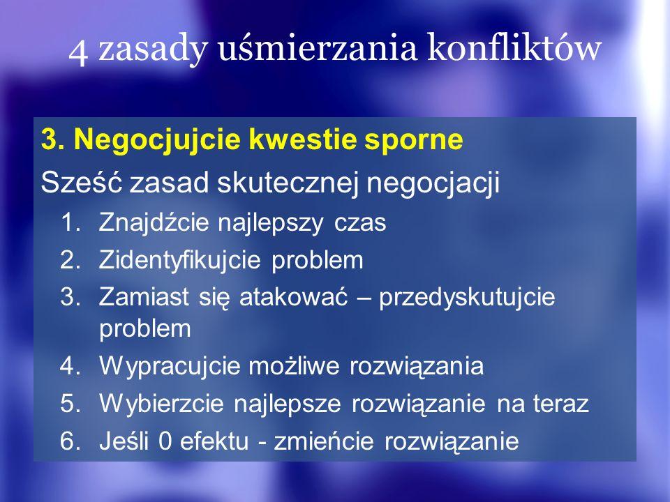 4 zasady uśmierzania konfliktów 3. Negocjujcie kwestie sporne Sześć zasad skutecznej negocjacji 1.Znajdźcie najlepszy czas 2.Zidentyfikujcie problem 3