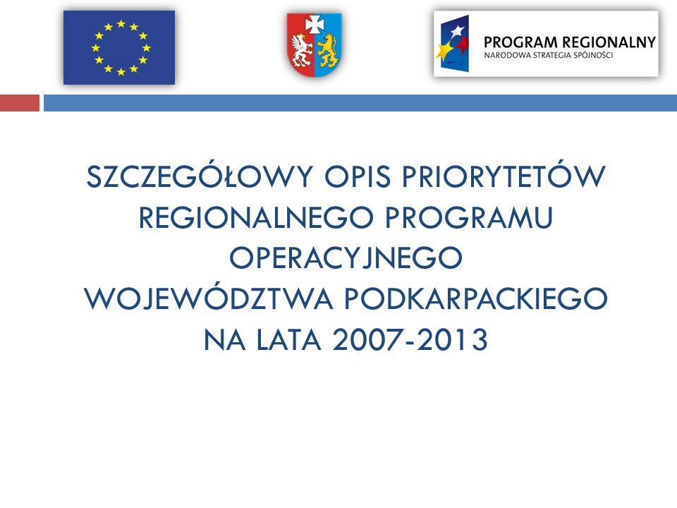 SZCZEGÓŁOWY OPIS PRIORYTETÓW REGIONALNEGO PROGRAMU OPERACYJNEGO WOJEWÓDZTWA PODKARPACKIEGO NA LATA 2007-2013