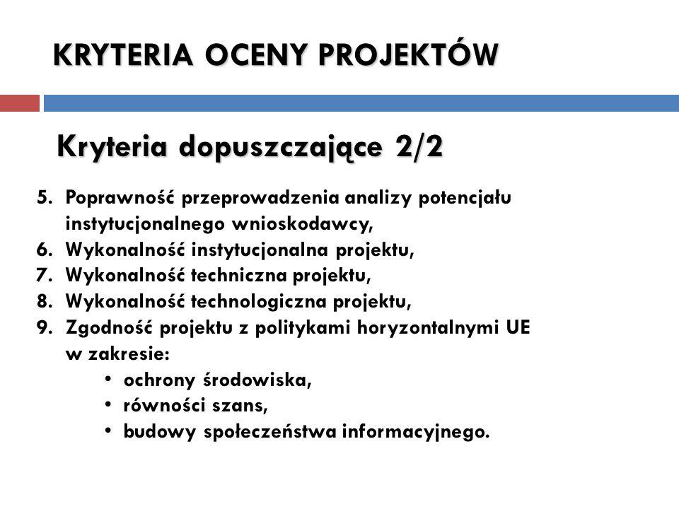 5. Poprawność przeprowadzenia analizy potencjału instytucjonalnego wnioskodawcy, 6.