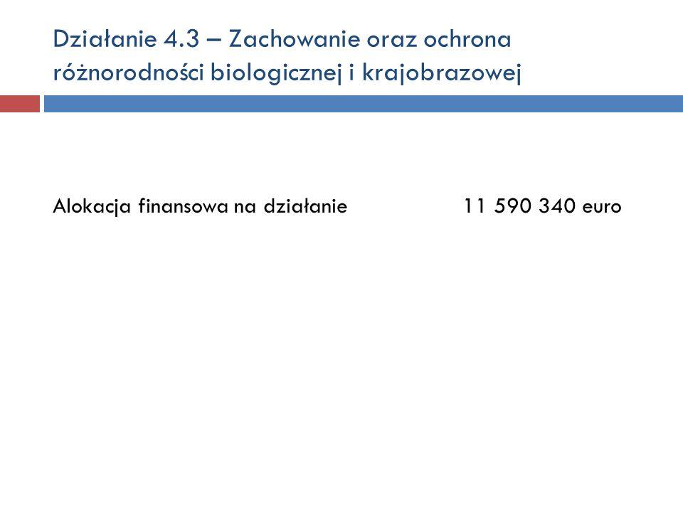 Działanie 4.3 – Zachowanie oraz ochrona różnorodności biologicznej i krajobrazowej Alokacja finansowa na działanie 11 590 340 euro