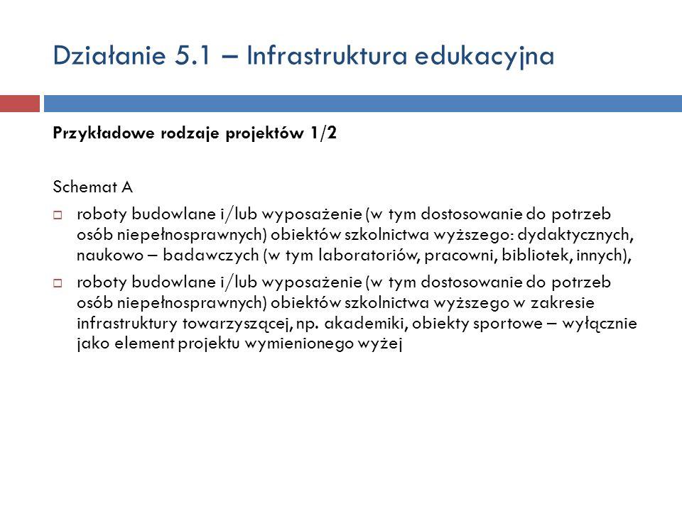 Działanie 5.1 – Infrastruktura edukacyjna Przykładowe rodzaje projektów 1/2 Schemat A roboty budowlane i/lub wyposażenie (w tym dostosowanie do potrzeb osób niepełnosprawnych) obiektów szkolnictwa wyższego: dydaktycznych, naukowo – badawczych (w tym laboratoriów, pracowni, bibliotek, innych), roboty budowlane i/lub wyposażenie (w tym dostosowanie do potrzeb osób niepełnosprawnych) obiektów szkolnictwa wyższego w zakresie infrastruktury towarzyszącej, np.