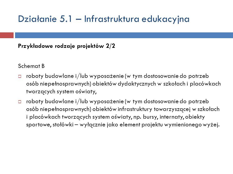 Działanie 5.1 – Infrastruktura edukacyjna Przykładowe rodzaje projektów 2/2 Schemat B roboty budowlane i/lub wyposażenie (w tym dostosowanie do potrzeb osób niepełnosprawnych) obiektów dydaktycznych w szkołach i placówkach tworzących system oświaty, roboty budowlane i/lub wyposażenie (w tym dostosowanie do potrzeb osób niepełnosprawnych) obiektów infrastruktury towarzyszącej w szkołach i placówkach tworzących system oświaty, np.