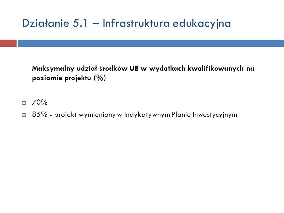 Działanie 5.1 – Infrastruktura edukacyjna Maksymalny udział środków UE w wydatkach kwalifikowanych na poziomie projektu (%) 70% 85% - projekt wymieniony w Indykatywnym Planie Inwestycyjnym