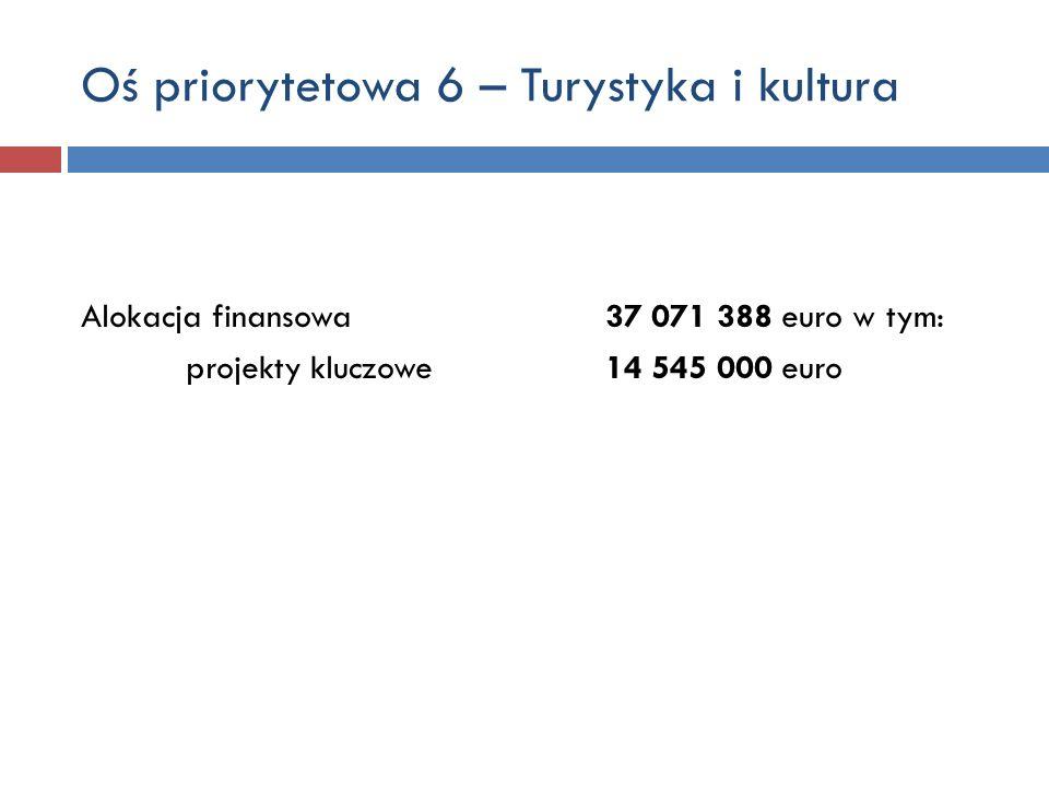 Oś priorytetowa 6 – Turystyka i kultura Alokacja finansowa 37 071 388 euro w tym: projekty kluczowe 14 545 000 euro