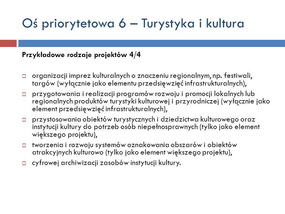 Oś priorytetowa 6 – Turystyka i kultura Przykładowe rodzaje projektów 4/4 organizacji imprez kulturalnych o znaczeniu regionalnym, np.