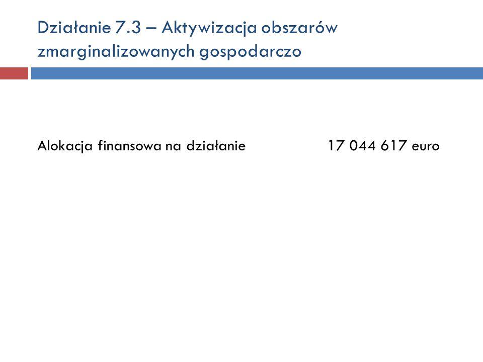 Działanie 7.3 – Aktywizacja obszarów zmarginalizowanych gospodarczo Alokacja finansowa na działanie17 044 617 euro