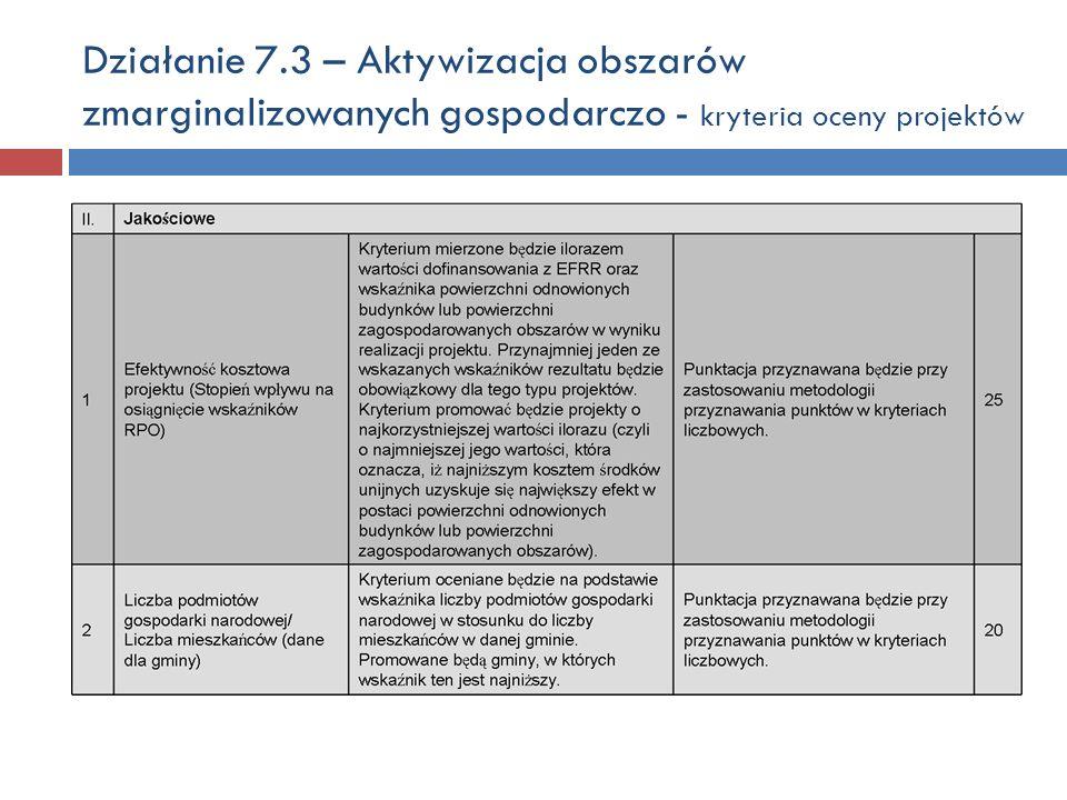 Działanie 7.3 – Aktywizacja obszarów zmarginalizowanych gospodarczo - kryteria oceny projektów