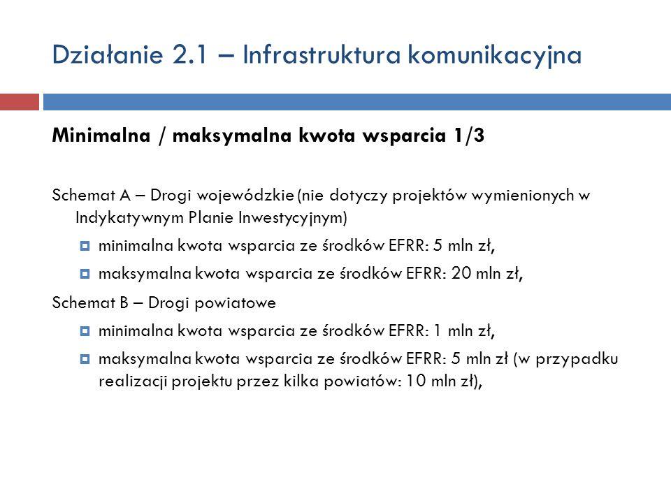 Działanie 2.1 – Infrastruktura komunikacyjna Minimalna / maksymalna kwota wsparcia 1/3 Schemat A – Drogi wojewódzkie (nie dotyczy projektów wymienionych w Indykatywnym Planie Inwestycyjnym) minimalna kwota wsparcia ze środków EFRR: 5 mln zł, maksymalna kwota wsparcia ze środków EFRR: 20 mln zł, Schemat B – Drogi powiatowe minimalna kwota wsparcia ze środków EFRR: 1 mln zł, maksymalna kwota wsparcia ze środków EFRR: 5 mln zł (w przypadku realizacji projektu przez kilka powiatów: 10 mln zł),