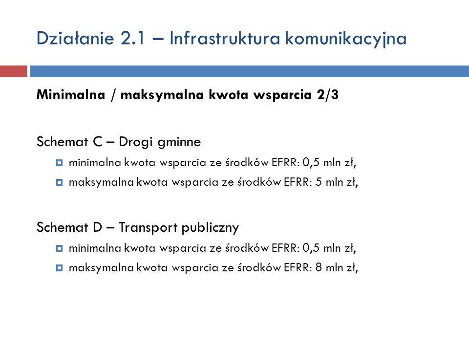 Działanie 2.1 – Infrastruktura komunikacyjna Minimalna / maksymalna kwota wsparcia 2/3 Schemat C – Drogi gminne minimalna kwota wsparcia ze środków EFRR: 0,5 mln zł, maksymalna kwota wsparcia ze środków EFRR: 5 mln zł, Schemat D – Transport publiczny minimalna kwota wsparcia ze środków EFRR: 0,5 mln zł, maksymalna kwota wsparcia ze środków EFRR: 8 mln zł,