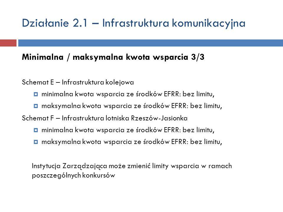 Działanie 2.1 – Infrastruktura komunikacyjna Minimalna / maksymalna kwota wsparcia 3/3 Schemat E – Infrastruktura kolejowa minimalna kwota wsparcia ze środków EFRR: bez limitu, maksymalna kwota wsparcia ze środków EFRR: bez limitu, Schemat F – Infrastruktura lotniska Rzeszów-Jasionka minimalna kwota wsparcia ze środków EFRR: bez limitu, maksymalna kwota wsparcia ze środków EFRR: bez limitu, Instytucja Zarządzająca może zmienić limity wsparcia w ramach poszczególnych konkursów