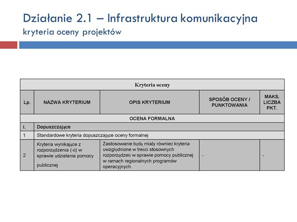 Działanie 2.1 – Infrastruktura komunikacyjna kryteria oceny projektów