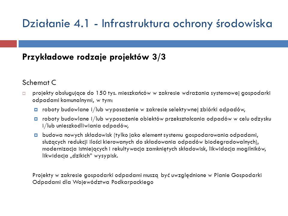Działanie 4.1 - Infrastruktura ochrony środowiska Przykładowe rodzaje projektów 3/3 Schemat C projekty obsługujące do 150 tys.