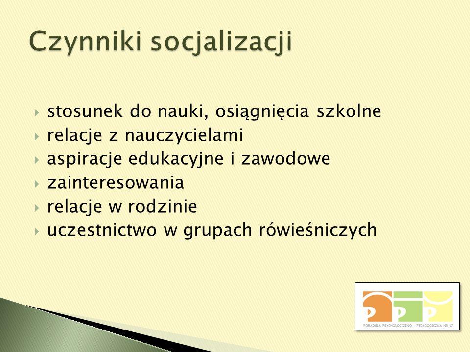 stosunek do nauki, osiągnięcia szkolne relacje z nauczycielami aspiracje edukacyjne i zawodowe zainteresowania relacje w rodzinie uczestnictwo w grupa