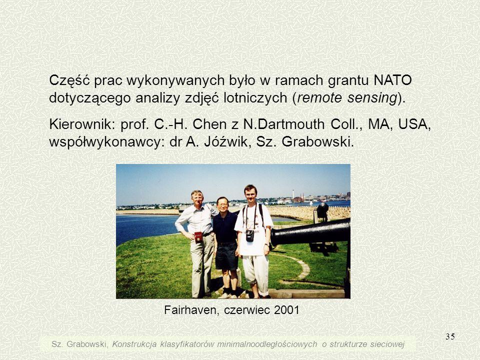 35 Część prac wykonywanych było w ramach grantu NATO dotyczącego analizy zdjęć lotniczych (remote sensing). Kierownik: prof. C.-H. Chen z N.Dartmouth