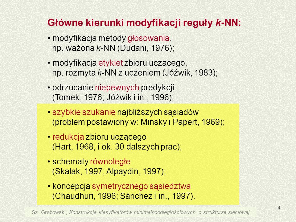 4 Główne kierunki modyfikacji reguły k-NN: modyfikacja metody głosowania, np. ważona k-NN (Dudani, 1976); modyfikacja etykiet zbioru uczącego, np. roz
