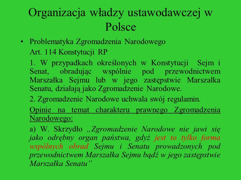 Organizacja władzy ustawodawczej w Polsce Problematyka Zgromadzenia Narodowego Art. 114 Konstytucji RP 1. W przypadkach określonych w Konstytucji Sejm